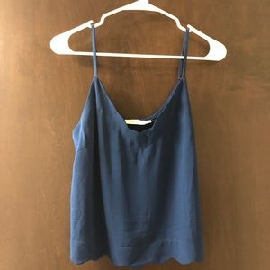 Blue tank top with scallop edges